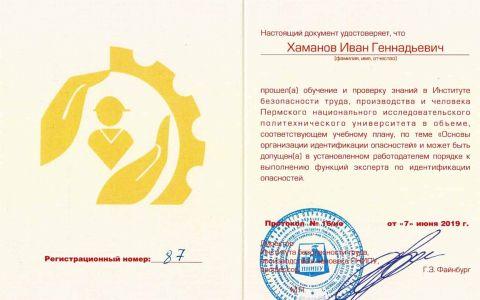 Удостоверение - идентификация опасностей (Хаманов И.Г.)